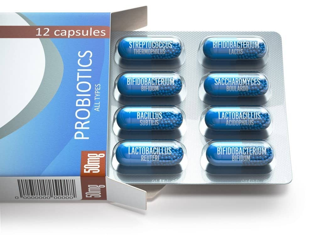 Probiotics. Box with all types of probiotics capsules. Can really the food we eat affect our emotions?