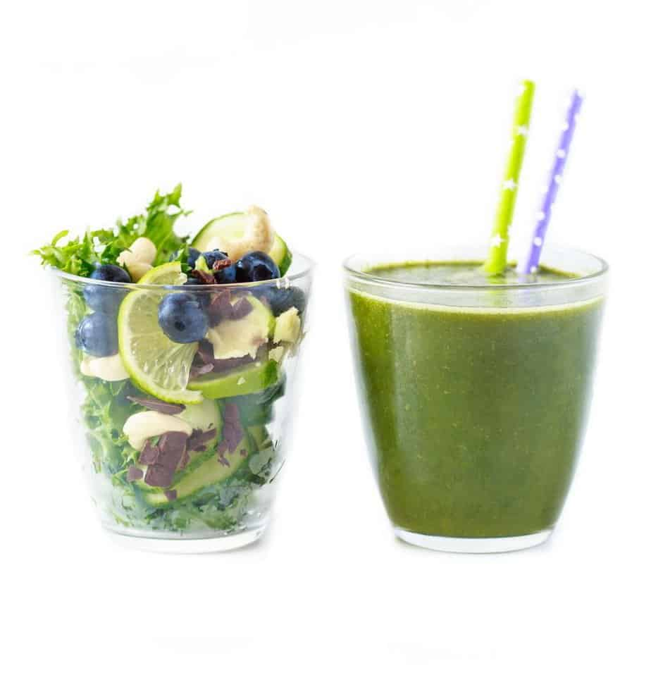 Fresh healthy smoothie. Before and after blending. - Diet Smoothies for Weight Loss
