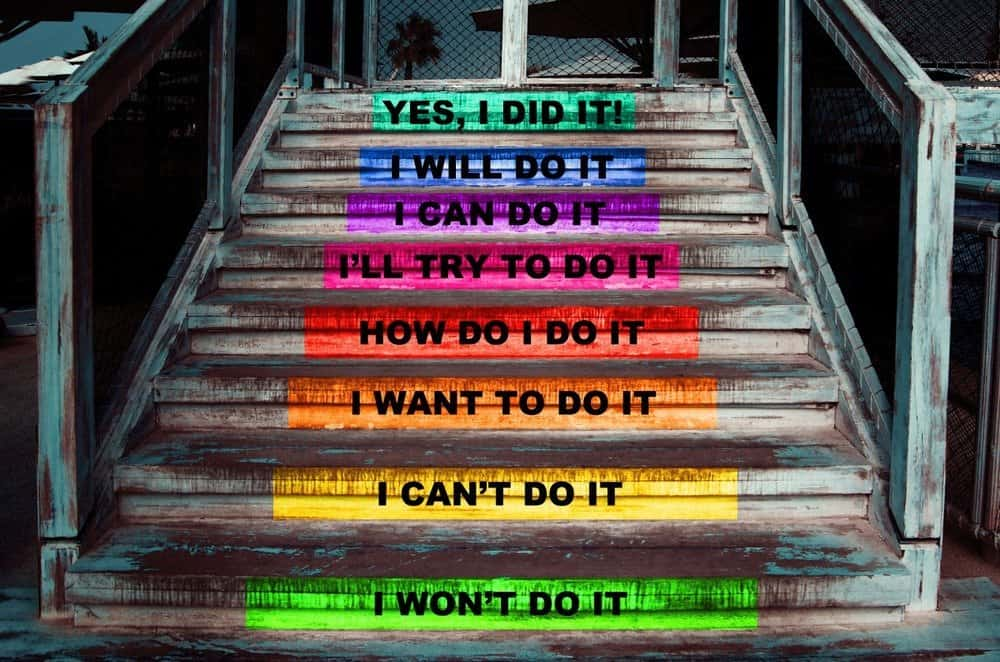 Stairway with motivational words, steps on how to reach a goal - How to Motivate Yourself for Workout