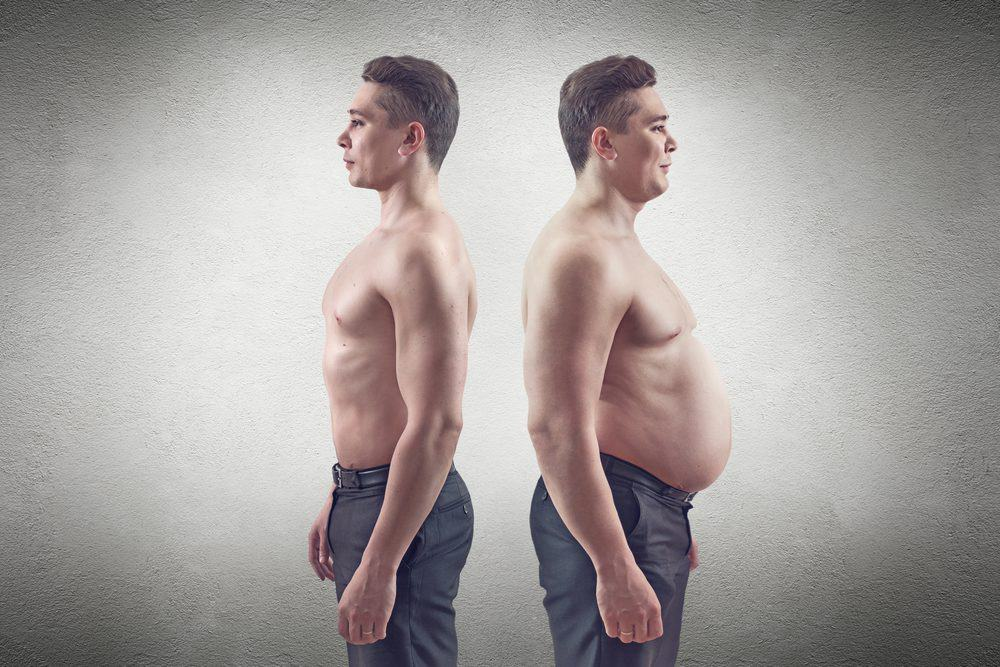 fat and thin man - 10 Ways to Lose Belly Fat