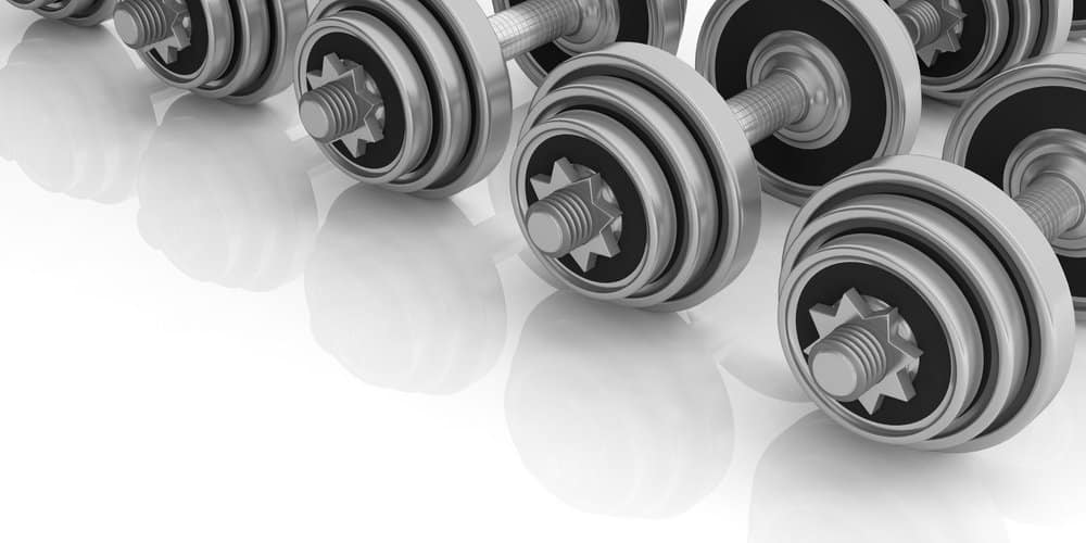 Dumbbells weights on white background. 3d illustration