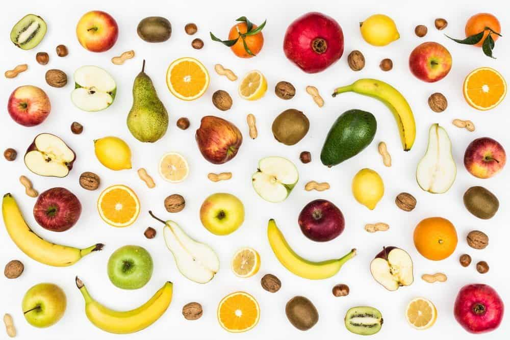 Tasty colorful fruit on white background, seamless food background - Top 10 Ways to Weight Loss