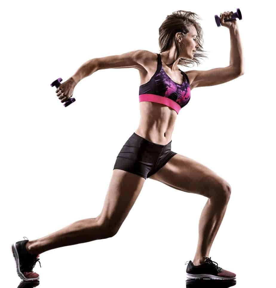 woman exercising cardio boxing workout fitness exercise aerobics - HIIT vs LIIT