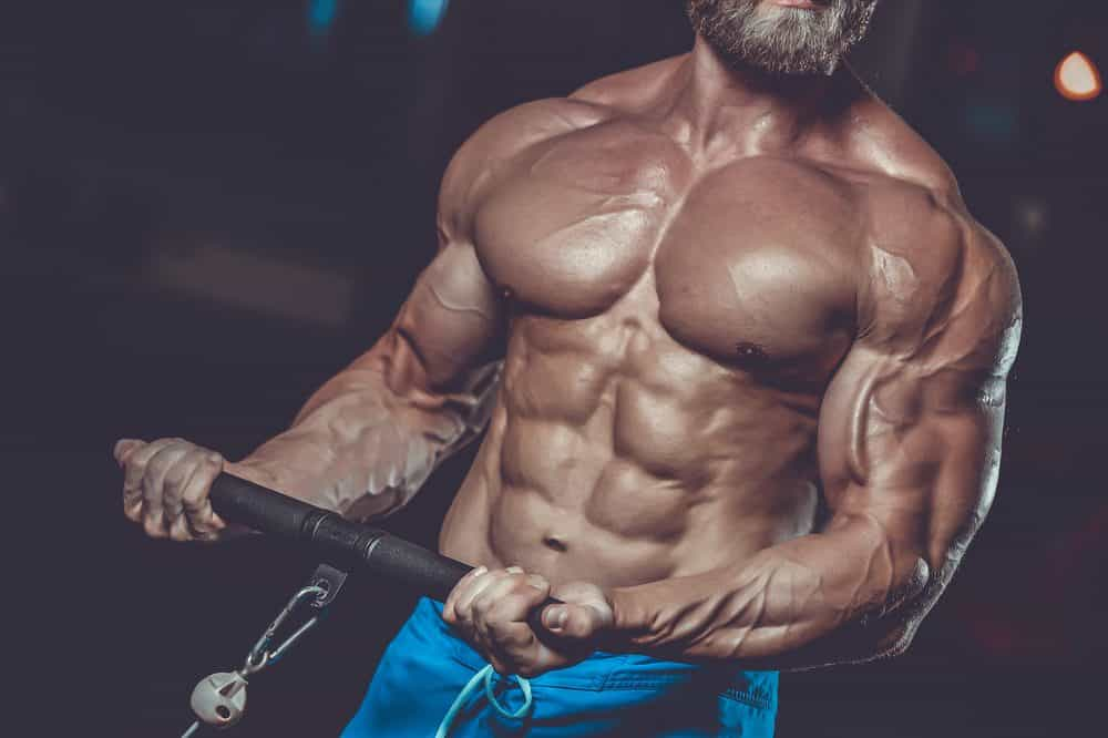 Athletic man training pumping up muscles with dumbbell - How to begin in Body Building?