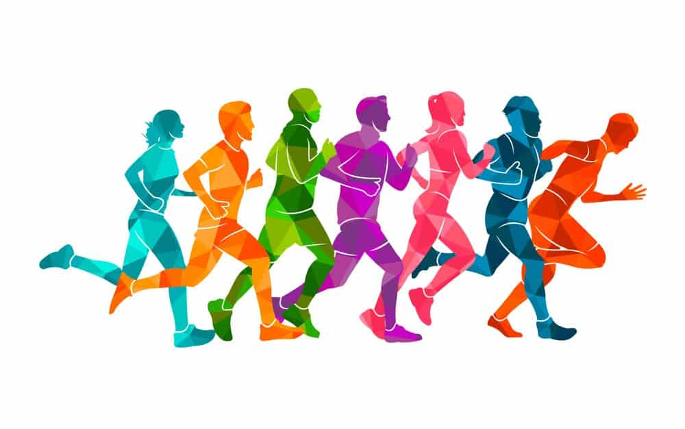 Colorful poster of people Running marathon - How Frequently Should a Beginner Exercise Running to Achieve Best Results for the Body and Avoid Injuries Explained