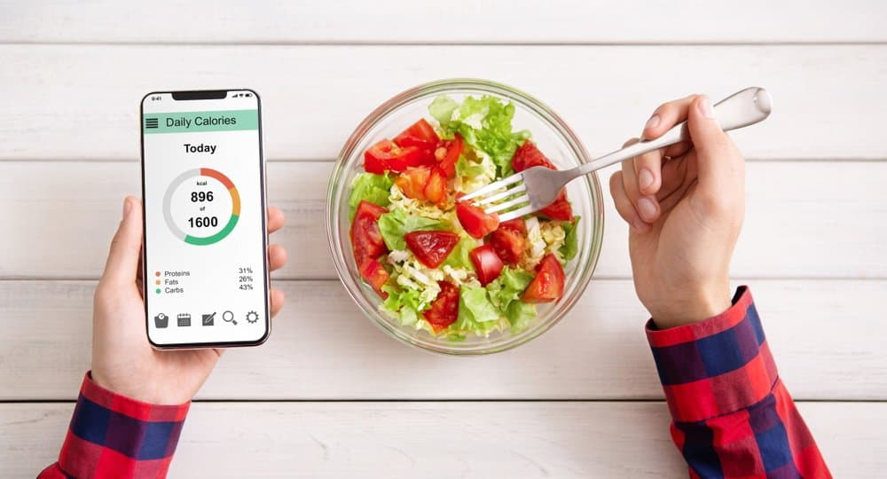 Smart eating and diet planning while counting calories concept