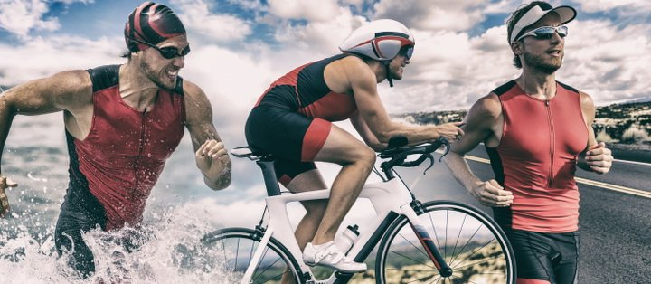 Triathlon man running , swimming, biking - How to Boost Your Body's Fitness Level and Avoid The Risk of Injury. The Ultimate Guide in Cross-Training.