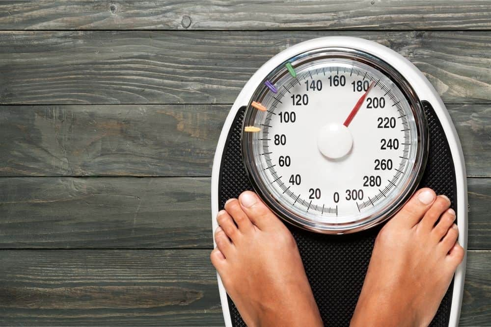 Weight scale for weight loss concept