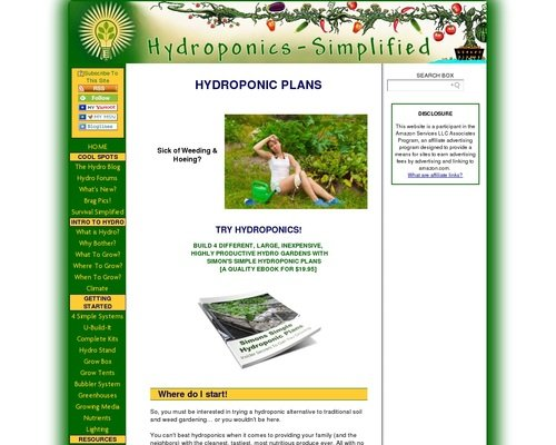 Simon's Simple Hydroponics Plans Giant Ebook 1