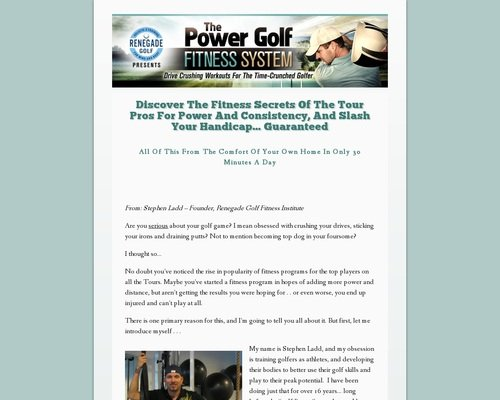 Discover The Fitness Secrets Of The Tour Pros For Power And Consistency, And Slash Your Handicap... Guaranteed - Power Golf Workouts 1