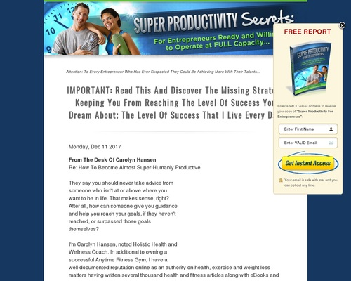 Super Productivity Secrets: For Entrepreneurs Ready And Willing To Operate At FULL Capacity 1