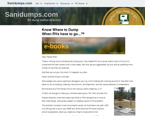 Sanidumps  Order Ebooks For Rv Dump Stations