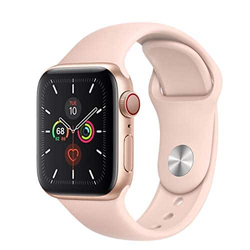 Apple Watch Series 5 (GPS + Cellular, 40mm) - Gold Aluminum Case with Pink Sport Band (Renewed)