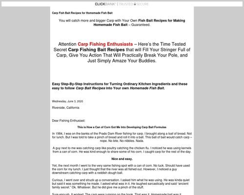 Carp Fish Bait Recipe for Homemade Fish Bait 1