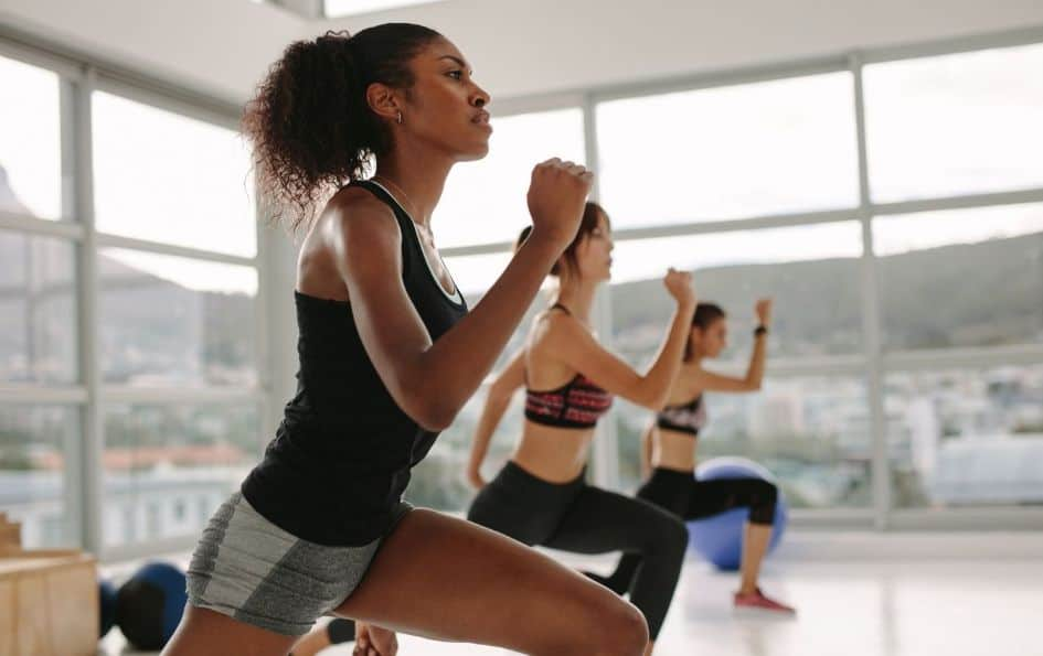 Group of women performing HIIT training